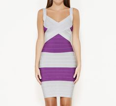 Herve Leger Gray And Purple Dress | VAUNTE