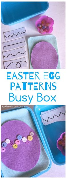 Easter Egg Patterns Busy Box: Cute for fine motor skills with the little ones pasen Easter Art, Easter Crafts For Kids, Easter Eggs, Easter Activities, Spring Activities, Sensory Activities, Physical Activities, Easter Egg Pattern, Busy Boxes