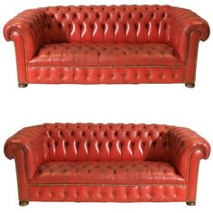 Vintage Leather Chesterfield Sofas in Pillar Box Red Sofa Shop, Modern Furniture, Furniture, Living Room Leather, Sofas, Leather Living Room Furniture, Cool Furniture, Vintage Leather Chesterfield Sofa, Vintage Sofa