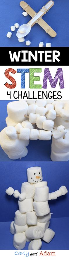 Students love these four winter themed STEM Challenges! (Build a Snowman, Build a Sled,  Build a Snow Fort, and Snowball Fight)