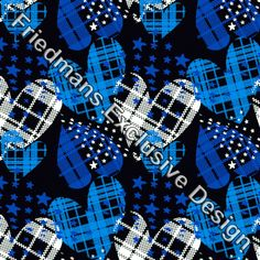 RUB156 CHECKERED HEART BLUE | Digital Print | Lycra Fabrics | Stretch Fabrics | Dancewear Fabrics | Swimwear Fabrics