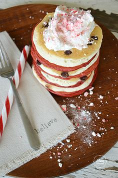 Candy Cane Pancakes {Peppermint Pancakes} Recipe | theidearoom.net
