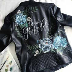 Painted leather jacket by Kelly marie of Bash Calligraphy