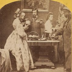 """""""(Same people, same title, same props...two different versions. And with and without the dog. :) )  New Year's Calls  ca. 1861-66  Stereoscope, detail  Studio of George Stacy, NYC  Library of Congress """""""