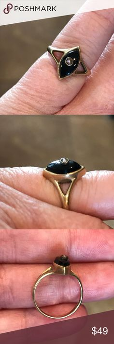 14 karat yellow gold and onyx ring. Vintage Very petite vintage 14 karat yellow gold onyx and seed pearl ring. Size 4.25 Jewelry Rings