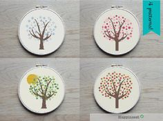 4 trees in winter, spring, summer and fall colors.  Fit all in a 8 inch embroidery hoop (based on 14 count aida).  The pattern comes as a PDF file