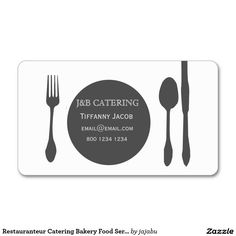 Chic fork spoon food service business card food service shop restauranteur catering bakery food services party business card created by jajabu colourmoves Choice Image