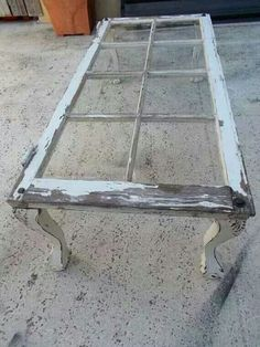 Vintage Window Coffee Table on Etsy. I could craft this.Lots of old windows at Junk Sisters to create this look Furniture Projects, Home Projects, Diy Furniture, Painted Furniture, Furniture Design, Dresser Furniture, Eclectic Furniture, Furniture Vintage, Furniture Makeover