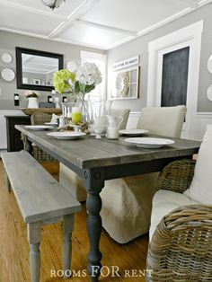How to Build a Farmhouse Dining Table - using stock lumber and salvaged table legs + how to get this awesome finish using Annie Sloan Chalk Paint and stain - via Rooms For Rent