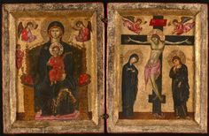Diptych with the Virgin and Child Enthroned and the Crucifixion | The Art Institute of Chicago