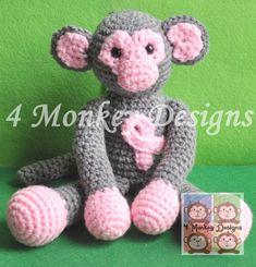 Crochet Breast Cancer Monkey
