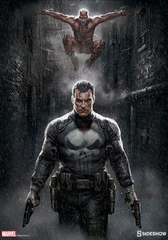 Punisher/ Daredevil Marvel Knights Sideshow Print - http://bigmac996.deviantart.com/art/Punisher-Daredevil-Marvel-Knights-Sideshow-Print-602041664