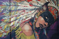 Ed Abillano: Today's Street Art - Native American Woman Gothic Outfits, Emo Outfits, West Art, Native American Women, Arts Ed, Woman Painting, Nativity, Graffiti, Street Art
