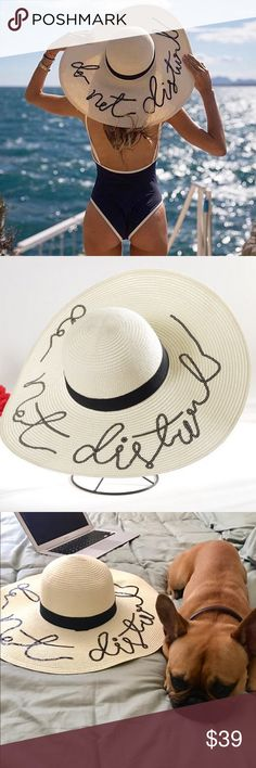 """Do Not Disturb Sequined 🏝 Beach Hat When I saw the original, I had to have it!! These are so cute. It is just like Eugenia Kim's """"Do Not Disturb"""" hat without the $485 price tag! This is an Ivory/Cream toyo wide-brimmed hat detailed with a black cotton-grosgrain band and a cheeky 'Do Not Disturb' sequin inscription for a sophisticated, yet playful finish. Wear yours to bring a touch of feminine charm to new-season looks. I also have this in slightly darker Khaki (see closet) Anthropologie…"""