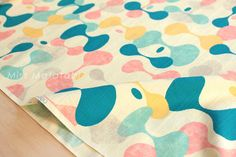 Japanese Fabric - cotton dobby hourglass - pink, mint, and yellow on cream