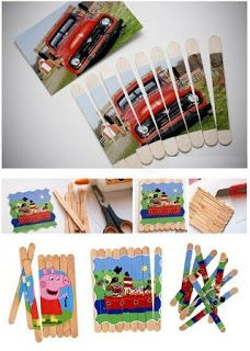 Como Hacer un Rompecabezas con Palitos de Helado Popsicle Stick Crafts, Craft Stick Crafts, Diy And Crafts, Arts And Crafts, Games For Kids, Diy For Kids, Crafts For Kids, Ideas Para Fiestas, Baby Kind