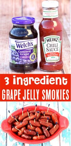Little Smokies Crockpot Grape Jelly Easy Recipe - Best Appetizer Ever! Just 3 ingredients and you've got the hit of the party! Go grab the recipe and give it a try! Recipes appetizers Little Smokies Crockpot Grape Jelly Easy Recipe - Best Appetizer Ever! Grape Recipes, Gourmet Recipes, Appetizer Recipes, Crockpot Recipes, Cooking Recipes, Appetizer Crockpot, Dinner Recipes, Barbecue Recipes, Cooking Tips