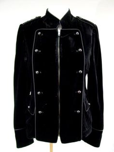 DEREK LAM BLACK VELVET ZIP UP JACKET COAT 38 | eBay