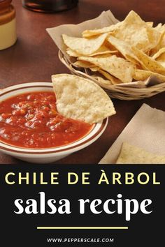 A surprisingly versatile chili – from decorative ristras to olive oil and beverage infusions – the chile de àrbol makes one tasty salsa too. #chiledearbol #salsa #mexican #chipsandsalsa Chipotle Recipes, Spicy Vegetarian Recipes, Vegetarian Appetizers, Mexican Food Recipes, Appetizer Recipes, Ethnic Recipes, Chicken Wings Spicy, Chips And Salsa, Homemade Salsa