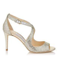 02f160df65 JIMMY CHOO EMILY 85 Champagne Glitter Fabric Sandals. #jimmychoo #shoes #s