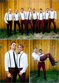 Fun and fashionable fall groom and groomsmen style ideas - Wedding Party Pants Though Maroon Wedding, Wedding Groom, Wedding Suits, Wedding Attire, Trendy Wedding, Summer Wedding, Wedding Styles, Wedding Photos, Party Photos