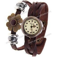 Time Z Women's Watch with Dots Hours Marks Round Dial Leather Band - Brown Jewelry Accessories, Fashion Accessories, Brown Leather Strap Watch, Sammy Dress, Quartz Watch, Fashion Watches, Jewelry Watches, Women's Watches, Beaded Watches