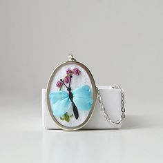 Blue butterfly necklace silk ribbon embroidery