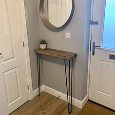 Narrow console table with hairpin legs wooden rustic hallway Narrow Hallway Table, Rustic Hallway Table, Narrow Hallway Decorating, Hallway Ideas Entrance Narrow, Entryway Tables, Modern Hallway, Rustic Table, Modern Staircase, Staircase Design