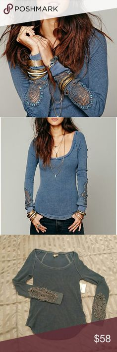 Free People Synergy Cuff Thermal Deep Sea Blue M Synergy cuff thermal from FP with gorgeous crochet detail on sleeves, wide scoop neckline and slim fit. 1st 2 pics on models are from fp site to show fit. This thermal is new with tags, no flaws. Please note this style has a washed/distressed look to the fabric (see last photo) and has never been worn or washed, only tried on. Size is Medium. Free People Tops Tees - Long Sleeve