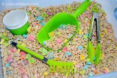 St. Patrick's Day Cereal Sensory Play + 40 Days of Sensory Bin Fillers
