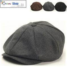 Men Wool Gatsby Eight Panel Newsboy Cap Gray Warm Flat hat Cabbie Golf Beret | eBay