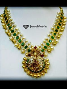 22 carat gold antique finish necklace with Radha Krishna pendant adorned with emeralds, south sea pearls and uncut diamonds from Sri Mahalakshmi Jewellers …