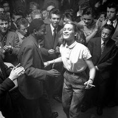 Dancing at the Storyville club, Copenhagen, 1952, photo by Helmer Lund Hansen first posted by blueblackdream