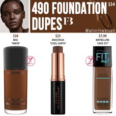 Fenty Beauty 490 Pro Filt'r Foundation-Dupes in mattem Longwear # bunt … - Christmas Deesserts Nyx Soft Matte Lipstick, Lipstick Dupes, Foundation Dupes, Natural Foundation, Contour Makeup, Drugstore Makeup, Becca Champagne Pop Dupe, Dior Forever Foundation, Basic Makeup Kit