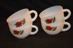 Federal Rosecrest Tea Cups-Coffee Cups-Punch Cups-Set of 4 by TwinsTreasureTrove on Etsy
