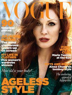 July 2009  Julianne Moore ulianne Moore wears chiffon blouse, £1,355, Yves Saint Laurent. All make-up by YSL. Hair: Paul Hanlon. Make-up: Gucci Westman. Fashion editor: Kate Phelan.