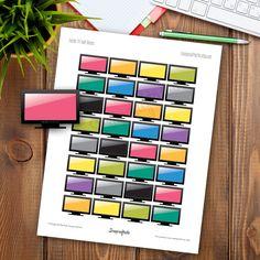 TV Half Box Printable Planner Stickers for any Planner Mambi Happy Planner, Erin Condren,  Filofax, Carpe Diem