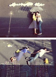 adorable engagement photos with chalk drawings