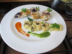 Pollo  radicchio e grana   riso  curry    e  limone  melenzana  e  zucchina  fritta   pesto  di basilico e pomodoro / Gino D'Aquino