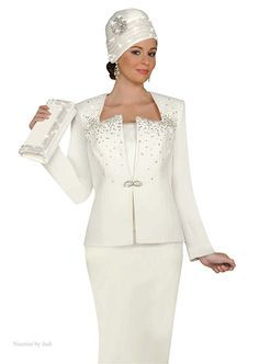 Formal Women Evening Suits Ben Marc 47142 Off White Rhinestone Wedding Church Dress Suit
