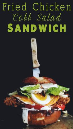 My Favorite Fried Chicken Sandwich Recipes - Fried Chicken Cobb Salad Sandwich on a pretzel roll - the absolute perfect sandwich for lunch!