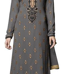 Buy Grey embroidered georgette unstitched salwar with dupatta dress-material online