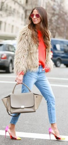 Orange Knit Turtleneck, jeans, fur jacket and pumps