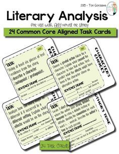 24 task cards. Use these effective and engaging common core aligned task cards with ANY novel or short story to teach your students how to closely analyze literature. This product includes 24 post reading task cards that require students to analyze character, theme, setting, conflict, plot, author's tone, word choice, and much more.  These task cards work perfectly for individual, small group, or whole class assignments, as assessments, or as interactive notebook pages.