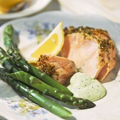 Smoking with mesquite wood chips gives a tantalizing outdoor taste to the salmon. But the lemon-and-dill-rubbed fish is equally splendid baked indoors. Salmon And Bok Choy, Salmon And Asparagus, Salmon Salad, Ginger Salmon, Lemon Salmon, Easy Salmon Recipes, Fish Recipes, Healthy Recipes, Salmon Dishes