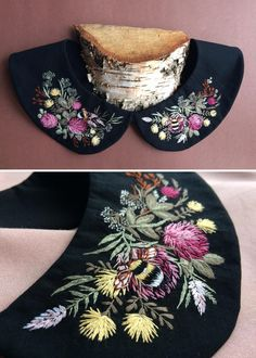 Embroidery makes every detail better Creative Embroidery, Hand Embroidery Designs, Embroidery Art, Cross Stitch Embroidery, Embroidery Patterns, Embroidered Clothes, Embroidered Flowers, Sewing Collars, Silk Ribbon Embroidery
