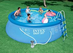 Swimming Pools - Intex 15ft X 48in Easy Set Pool Set with Filter Pump Ladder Ground Cloth  Pool Cover -- Click image to review more details. (This is an Amazon affiliate link)
