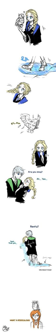 Okay so what Im seeing here is that Anna and Elsa attend Hogwarts and so does Jack Frost and Jack is being a little punk and makes Elsa slip so he can catch her.. Amirite?