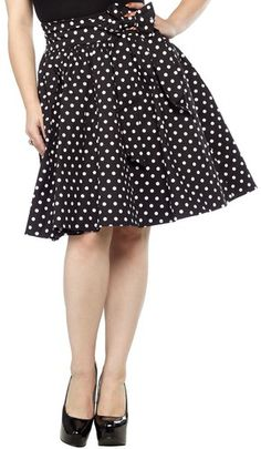 Pin-Up Polka Dot Short Swing Skirt in Black with Small White Polka Dots. This A-line skirt is slightly stretchy and structured, black cotton polka dot fabric makes the perfect base for any vintage inspired outfit. The fabric bow is detachable for easy care and versatility and the wide waistband is extremely flattering on all body types. Made by Sourpuss Clothing. 95% Cotton 5% Spandex.