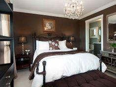 Master bedroom features Van Buren Brown paint by Benjamin Moore, Swarovski Chandelier  | Home Reworks Interior Design | Video Open House Photography